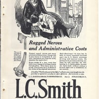 L C Smith Typewriter, White House Coffee, Horlick's Malted Milk, 1923 Vintage print advertisement