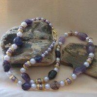 Amethysts Chunk Necklace | pattysdreamdesigns - Jewelry on ArtFire