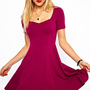 ASOS Skater Dress With Sweetheart Neck And Short Sleeves at asos.com