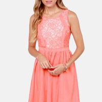 Cute Your Fancy Coral Lace Dress