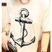 [5851] Unique Anchor Pattern T Shirt