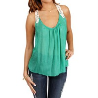 Green Crochet Sleeveless Top