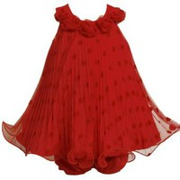 Bonnie Baby Baby-girls Newborn Mesh Dot Dress, Red, 3-6 Months