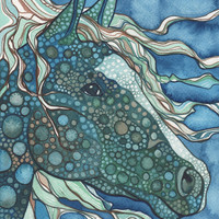 Midnight HORSE 4 x 6 print of detailed watercolour artwork in cool deep teal and aqua blue greens, seahorse, ocean, dragon, unicorn, magic