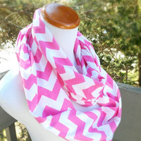 Pink infinite Chevron Scarf soft -Jersey knit