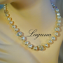 Vintage LAGUNA 24 Inch AB Crystal & Baroque Pearl Necklace Old New Stock