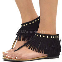 Indian Summer Black Fringe Studded Ankle Sandals