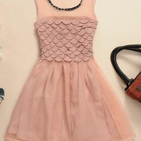 Fish Scale Sleevless Chiffon Tulle Dress