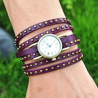 Vintage Style Rivet Wrist Watch Purple Leather Bracelet  Wrap Watch, Handmade Women&#x27;s Watch, Rivet Watch, Everyday Bracelet  PB034