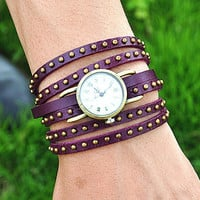Vintage Style Rivet Wrist Watch Purple Leather Bracelet  Wrap Watch, Handmade Women's Watch, Rivet Watch, Everyday Bracelet  PB034