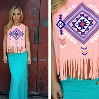 Bright Coral Sleeveless Fringe Top with Aztec Print Front