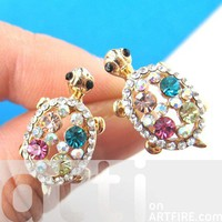 Turtle Tortoise Sea Animal Stud Earrings with Colorful Rhinestones