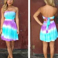Mint &amp; Purple Tie Dye Strapless Dress with Tie Back