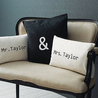 personalised &#x27;mr &amp; mrs&#x27; cushion cover set by minna&#x27;s room | notonthehighstreet.com