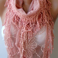Pink Cotton and lace  Shawl/ Scarf - Headband -Cowl with Lace Edge  Mothers Day gift
