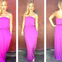 Purple Strapless Maxi Dress with Two Pocket Detail
