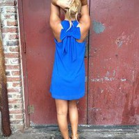 Blue Sleeveless Dress with Bow Back Detail