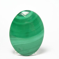 Green Banded Malachite Oval Cabochon 77 carat 40 x 30 mm