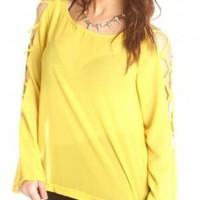 Yellow Long Sleeve Shirt with Cutouts