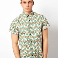 Solid Short Sleeve Shirt With Allover Print at asos.com