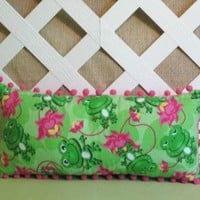 Frog Pillow in Hot Pink and Green