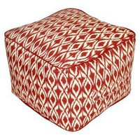 Threshold Outdoor Rectangular Pouf Footstool - Red Ikat