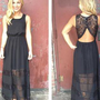 Black Lace Sleeveless Maxi Dress with Cutout Open Back