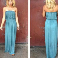 Sage Strapless Maxi Dress with Fringe Top Detail