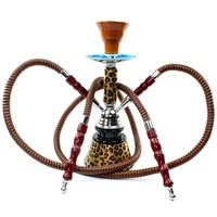 Never Exhale TM 18&amp;quot; 2 Hose Double Hookah Shisha - Leopard Cheetah Art Glass Vase &amp; Carry Case