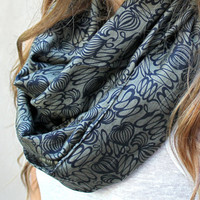 Summer Scarf, Infinity Scarf, Eternity Scarf, Circle Scarf, Olive Green, Black