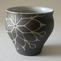 Black Tumbler Cup C by eripottery on Etsy