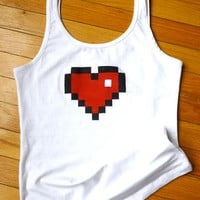 8Bit Heart Pixel HandPrinted Tank Top vest by FantastiquePlastique