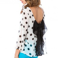 Chiffon Coletta Bow Blouse in White and Black Polka Dot - ShopSosie.com