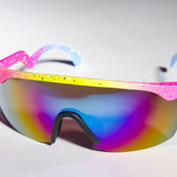 Bicycle Blaster Pink Yellow Mirror 80s Sunglasses A62