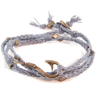 Fisherman's Hook Braided Grey Irish Linen Wrap Around Bracelet
