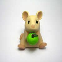 Cute Wee Tan Mouse with Green Apple by QuernusCrafts on Etsy