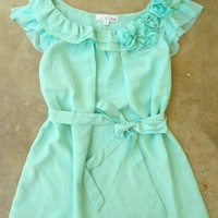 Ruffles with Rosette Mint Blouse [2266] - $32.00 : Vintage Inspired Clothing & Affordable Summer Frocks, deloom | Modern. Vintage. Crafted.