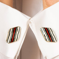 Vintage cuff links black red white stripes rhomb cufflinks Soviet Era