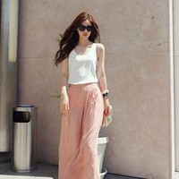 casual pants women, wide leg pants chiffon from shoplayla