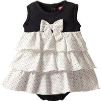 Isaac Mizrahi Baby-girls Newborn Sleeveless Sundress with Diaper Bottom Enclosure, Cream/Black, 6 Months