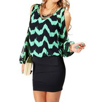 MintNavy Chevron 2fer Dress