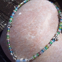 Pastel colored anklet, seed beads and  dragonfly findings