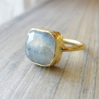Cushion cut labradorite ring labradorite gold by OliveYewJewels