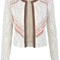 Embroided Jacquard Jacket - Coats & Jackets  - Apparel
