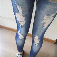 JEAN casual Style thin Elastic Leggings, Stone wash Denim  from gigima99