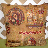 Southwestern Native American Pillow Cover in Golden Tan, Rust,Blue,Grn