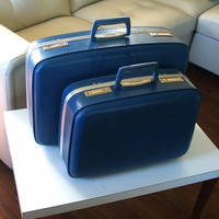 FRESH SUITCASES VINTAGE Luggage Clean Set of Two 2 Nesting 1960s Retro Mid Century Travel Suit Cases in Blue and Silver