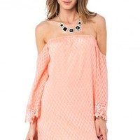 Elias Off Shoulder Dress in Melon - ShopSosie.com