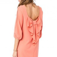 Agatha Bow Dress in Peach - ShopSosie.com