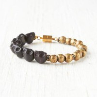 Gold Bangles - EBONY SKULL BRACELET, black stone | UsTrendy